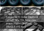 Rodas Daytona 15x8 5fx114,3mm c/ Pneus Maxxis Bighorn 33x12,5
