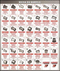 Buchas de Bandeja.  Diversas Marcas e Modelos.  Fabricadas em Borracha de Pneu.  Maior durabilidade com preço justo.