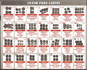 Kit de Buchas Coxim de Cabine.  Diversas Marcas e Modelos.  Fabricadas em Borracha de Pneu.  Maior durabilidade com preço justo.